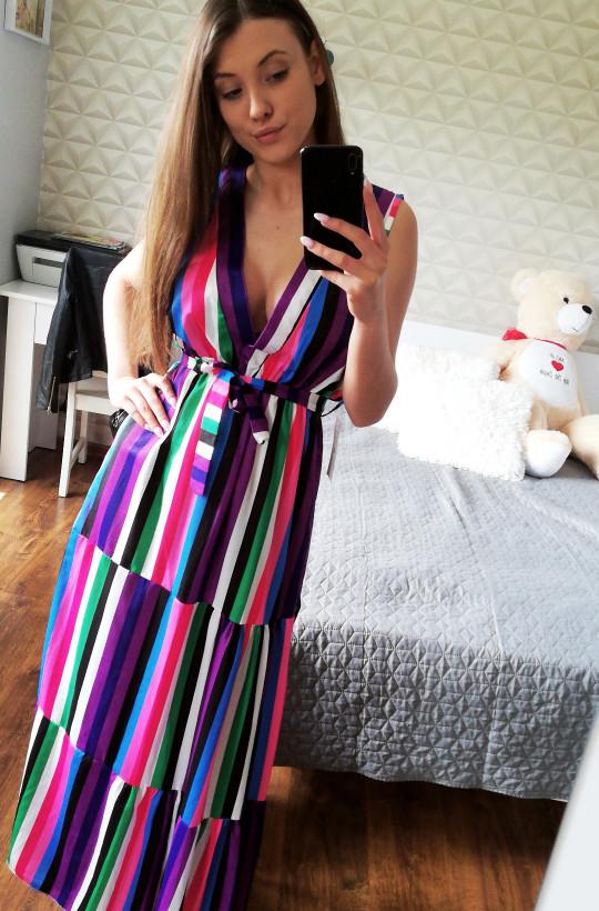Sukienka długa Fabbricato in Italia,sukienka w paski,sukienka z dekoldem,sukienka na ramiączka
