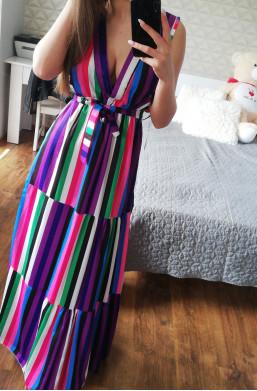 Sukienka długa Fabbricato in Italia, sukienka maxi na lato,sukienka w paski,kolorowa sukienka