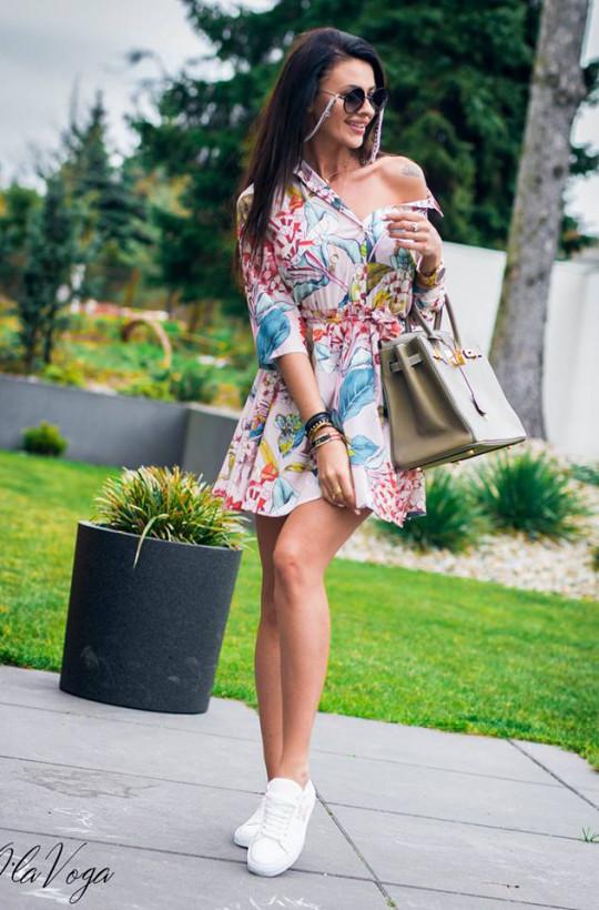 O La Voga sukienka casual flowers,krótka sukienka,kolorowa sukienka,sukienka na długi rękaw