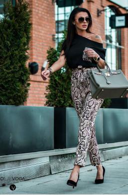 Spodnie snake spring O La Voga,luźne spodnie,świetne spodnie,spodnie podkreślające sylwetkę,spodnie z wysokim stanem