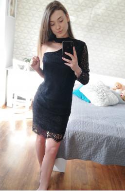 Sukienka koronkowa czarny,obcisła sukienka,sukienka bez jednego ramienia,elegancka sukienka