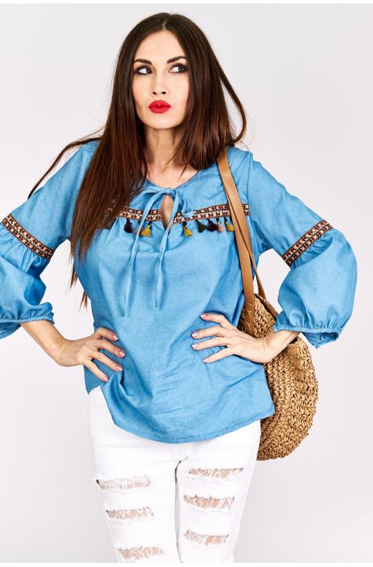 Koszula jeansowa z frędzelkami Z&W fashion,modna koszula,jeansowa koszula,ozdobny dekold,detal