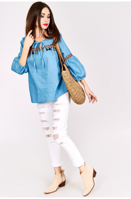 Koszula jeansowa z frędzelkami Z&W fashion, koszula dżinsowa