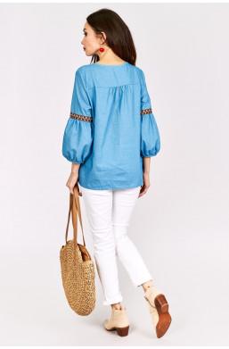 Koszula jeansowa z frędzelkami Z&W fashion,modna koszula,jeansowa koszula,ozdobny dekold,koszula hit