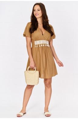 Lniana sukienka z wiązaniem INSTA Firenze new collection made in Italy,krótka sukienka,sukienka z dekoldem