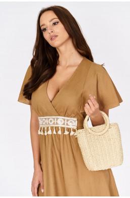 Lniana sukienka z wiązaniem INSTA Firenze new collection made in Italy,krótka sukienka,sukienka z dekoldem,zwiewna sukienka