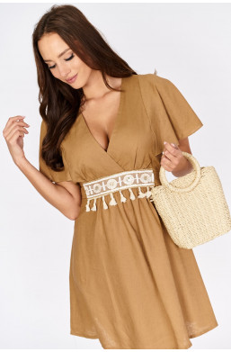 Lniana sukienka z wiązaniem INSTA Firenze new collection made in Italy, najniższe ceny