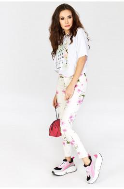 Spodnie w kwiaty new collection, detal