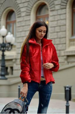 kurtka velvet jacket O la voga czerwony, detal,czerwona kurtka,krótka kurtka,ciechanów