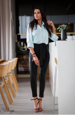 Spodnie suede spring O La Voga czarne rurki,obcisłe spodnie,eleganckie spodnie,czarne spodnie