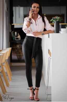 Spodnie suede spring O La Voga, detal, ciechanów, z wysokim stanem warszawa,wiązane spodnie