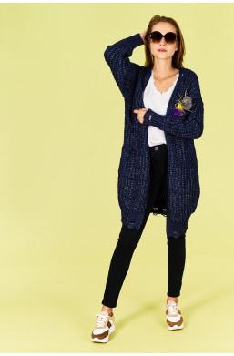 Sweter kardigan MAXI Amo Roma new collection made in Italy,długi sweter,ciemny kardigan,modny sweter,ciepły sweter,ciechanów