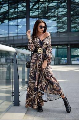 Sukienka Long Print O La Voga  detal ciechanów,długa sukienka,elegancka sukienka,modna sukienka