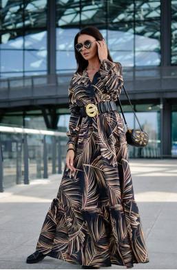 Sukienka Long Print O La Voga  detal warszawa,długa sukienka,sukienka z wzorami
