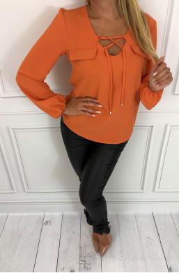 Bluzka Marelina wiązana miodowa,bluzka elegancka,modna bluka,bluzka do pracy,bluzka na wyjście