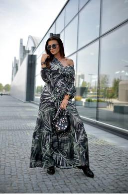 Sukienka Long Print O La Voga,długa sukienka,modna sukienka,sukienka na długi rękaw