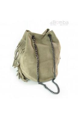 Torebka z frędzlami na łańcuszku ze skóry naturalnej, włoskie torby