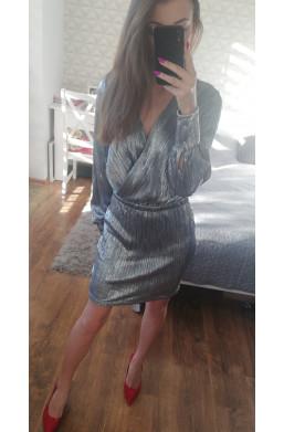 Sukienka ficcarelli na andrzejki połyskująca, srebrna sukienka
