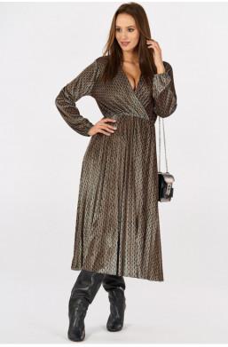 Aksamitna sukienka w drobne wzory new collection made in Italy