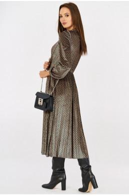 Aksamitna sukienka w drobne wzory new collection made in Italy detal warszawa