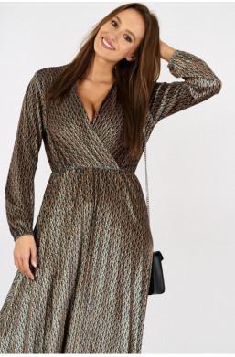 Aksamitna sukienka w drobne wzory new collection made in Italy włoskie ubrania ciechanów najniższe ceny