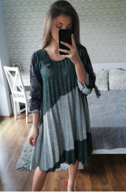 sukienka plisowana new collection made in Italy,zwiewna sukienka,sukienka na długi rękaw