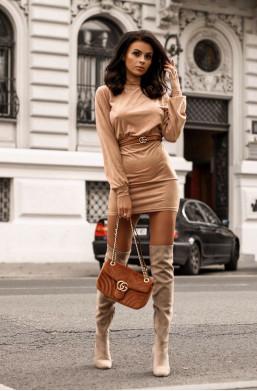Sukienka Date night O La Voga camel,sukienka z długim rękawem,krótka sukienka,obcisła sukienka