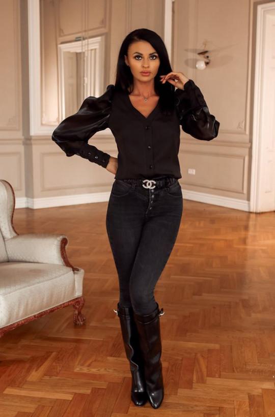 Koszula prestige O La Voga czarny,elegancka koszula,koszula z guzikami,koszula zapinana,hit2020