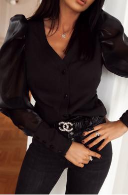 Koszula prestige O La Voga czarny,stylowa koszula,najlepsze oferty,niskie ceny koszul,koszula z siatką na rękawach,modna koszula