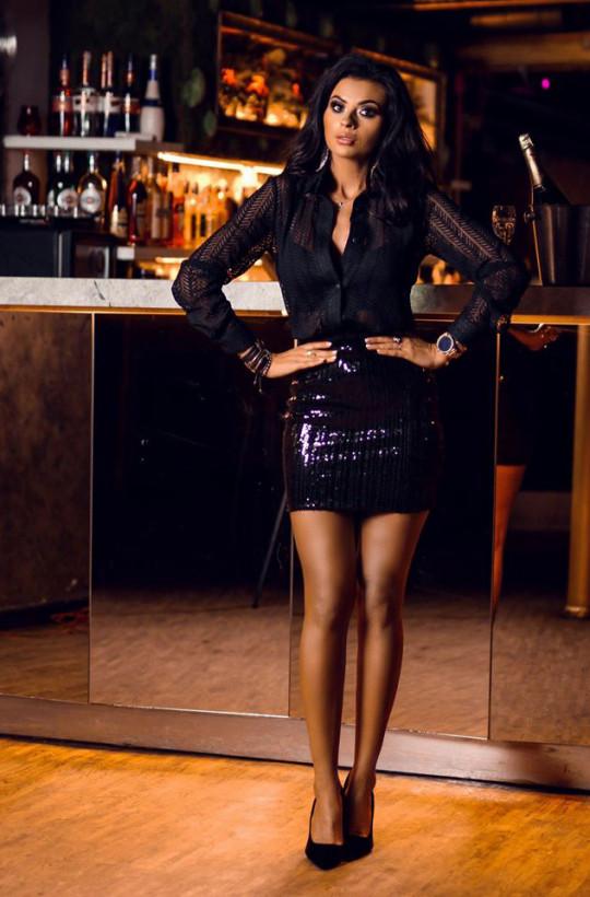 Spódniczka star O La Voga CZARNY,spódniczka na imprezę,obcisła spódniczka,cekinowa spódniczka