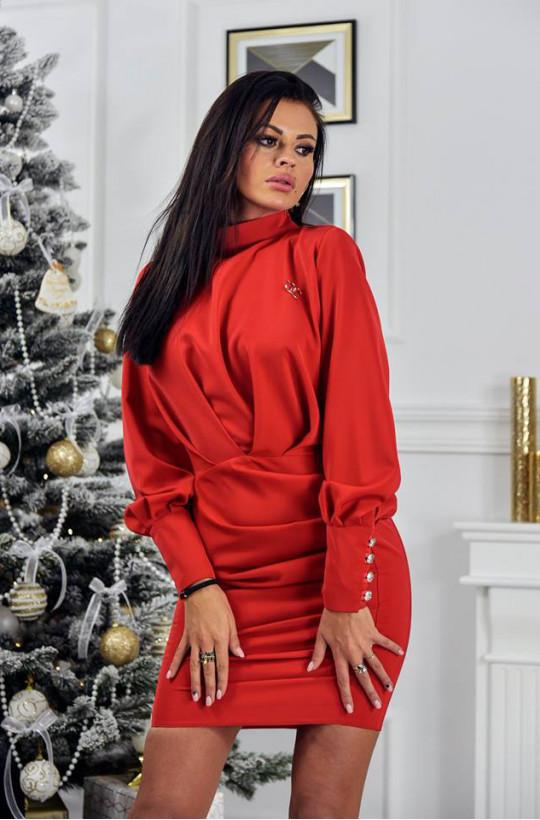 Sukienka gold elegance O la Voga ciechanów andrzejki,czerwona sukienka,modna sukienka,krótka sukienka