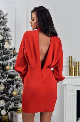 Sukienka gold elegance O la Voga warszawa odkryte plecy,czerwona sukienka,modna sukienka,krótka sukienka