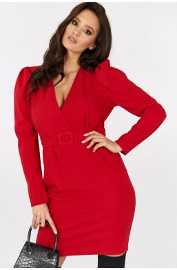 Sukienka kopertowa z bufkami new collection made in Italy czerwony