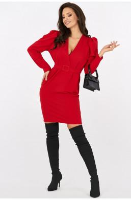 Sukienka klasyczna z bufkami new collection made in Italy czerwony święta, urodziny