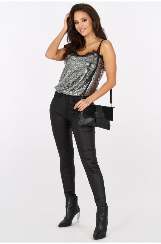 Spodnie woskowane basic new collection made in Italy czarny