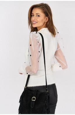 Bluzka z bufkami new collection biały, italiamoda warszawa włoskie ubrania