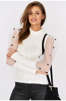 Bluzka z bufkami new collection biały,modna bluzka,elegancka bluzka