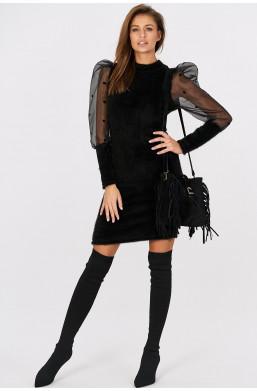 Sukienka z pluszu z tiulowymi rękawami w groszki bufkami Italiamoda czarny