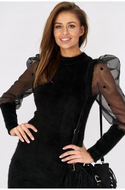 Sukienka z tiulowymi rękawami i bufkami Italiamoda czarny ciechanów,krotka sukienka