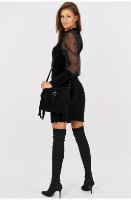 Sukienka klasyczna z tiulowymi rękawami i bufkami Italiamoda czarny warszawa