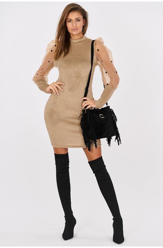 Sukienka z pluszu z tiulowymi rękawami i bufkami Italiamoda bezowy