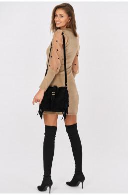 Sukienka z pluszu do kolan z tiulowymi rękawami i bufkami Italiamoda beżowy ciechanów