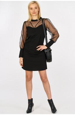Sukienka z tiulową górą i rękawami new collection made in Italy czarny,krótka sukienka
