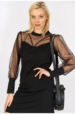Sukienka z tiulową górą i rękawami new collection made in Italy czarny, sukienka na święta