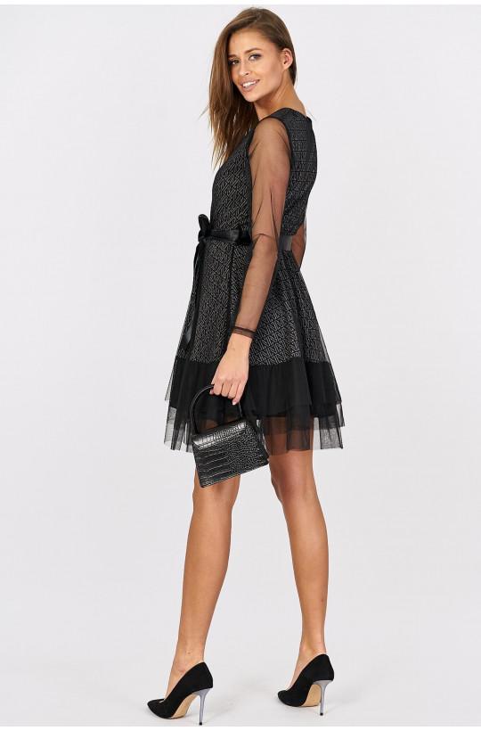 Sukienka kopertowa z tiulu new collection made in Italy czarny, sylwester sukienka z tiulu,zwiewna sukienka