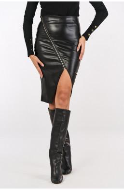 Spódnica z ecoskóry z suwakiem Italiamoda czarny  z wycięciem na nodze sklep internetowy