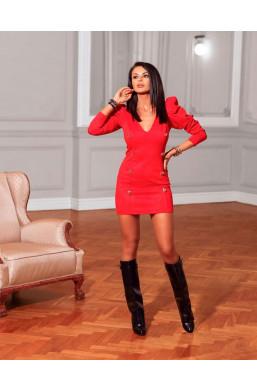 czerwona sukienka,sukienka z guzikami,sukienka z dekoldem,krótka sukienka,obcisła sukienka