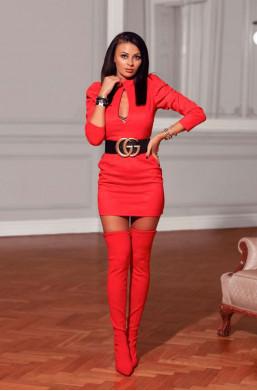 Sukienka patty O La Voga czerwona,krótka sukienka,sukienka z długim rękawem,obcisła sukienka,modna sukienka