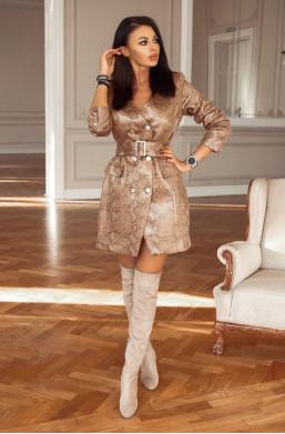 Sukienka żakiet Shannon print wężowy O La Voga,krótka sukienka,sukienka z paskiem,sukienka z długim rękawem