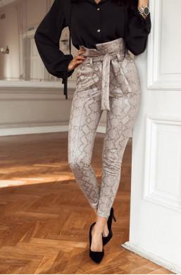 Spodnie snake print O La Voga imitacja wężowej skórki,spodnie z wzorem,spodnie z wysokim stanem,modne spodnie